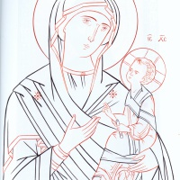 Богоматерь с младенцем прорись
